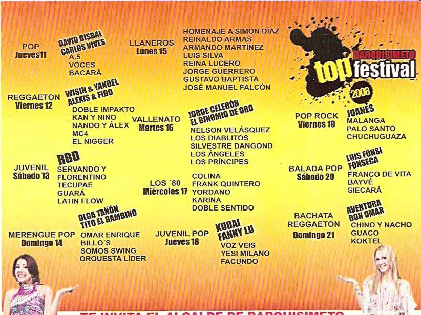 Cronograma Oficial BARQUISIMETO TOP FESTIVAL 2008 « BARQUISIMETO ...